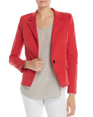 FILLMORE Mixed Media Crop Blazer in Red