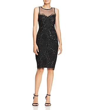 Adrianna Papell Beaded Illusion Sheath Dress
