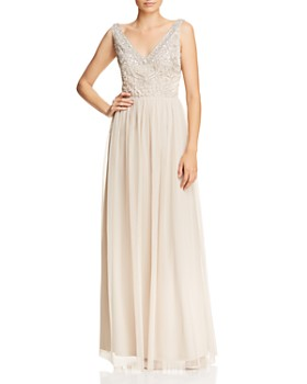 Adrianna Papell - Beaded-Bodice V-Back Gown