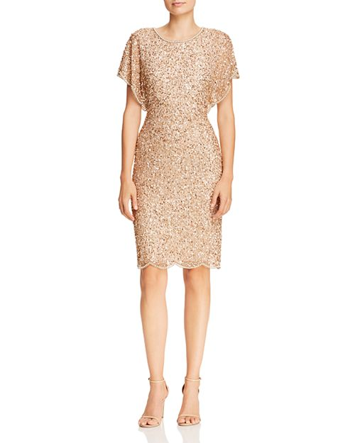 Adrianna Papell - Beaded Flutter-Sleeve Dress