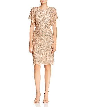 Adrianna Papell Dresses BEADED FLUTTER-SLEEVE DRESS