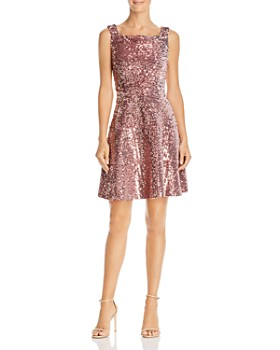 Laundry by Shelli Segal - Sequined Velvet Fit-and-Flare Dress - 100% Exclusive