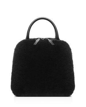 VASIC Madison Small Leather & Faux Fur Crossbody in Black/Silver