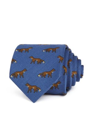 DRAKE'S Foxes Classic Tie in Blue