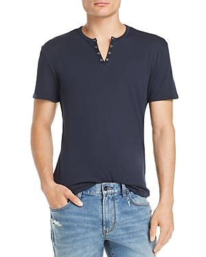 John Varvatos Star Usa Eyelet Split-Neck Tee