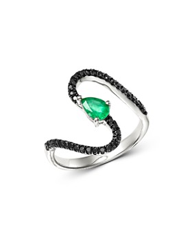 Bloomingdale's - Black Diamond & Emerald Teardrop Swerve Cocktail Ring in 14K White Gold - 100% Exclusive