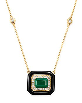 Bloomingdale's - Bloomingdale's Emerald, Black Onyx & Diamond Angular Pendant Necklace in 14K Yellow Gold - 100% Exclusive