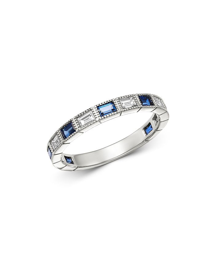 Bloomingdale's - Blue Sapphire & Diamond Milgrain Band Ring in 14K White Gold - 100% Exclusive