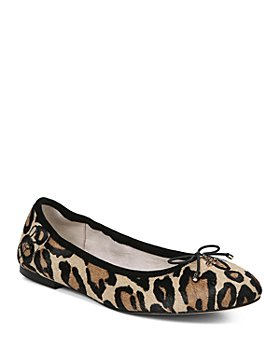 Sam Edelman - Women's Felicia Round Toe Leopard-Print Calf Hair Ballet Flats