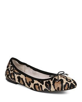 7556f1616e698 Sam Edelman - Women s Felicia Round Toe Leopard-Print Calf Hair Ballet Flats  ...