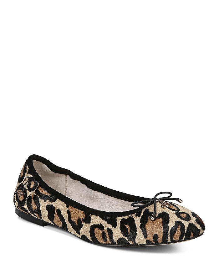 e769edd4b22f9f Sam Edelman - Women s Felicia Round Toe Leopard-Print Calf Hair Ballet Flats