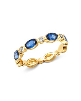 Bloomingdale's - Blue Sapphire & Diamond Oval Band Ring in 14K Yellow Gold - 100% Exclusive