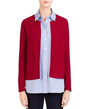 Gerard Darel Carole Textured-Knit Open Cardigan