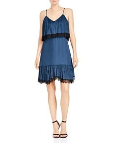 HALSTON HERITAGE - Sleeveless Lace-Trim Dress