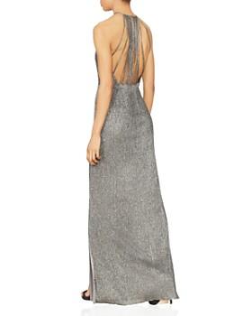 HALSTON HERITAGE - Deep V Metallic Knit Gown