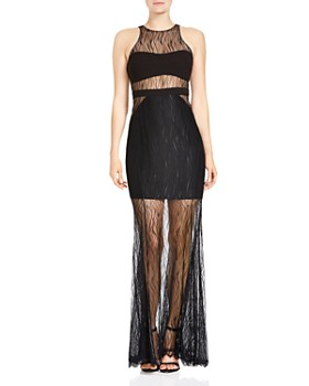 Halston Heritage Sleeveless Semi Sheer Lace Gown