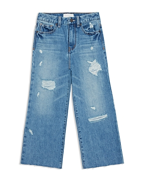 Habitual Girls' Emilee High-Rise Distressed Wide-Leg Cropped Jeans - Big Kid