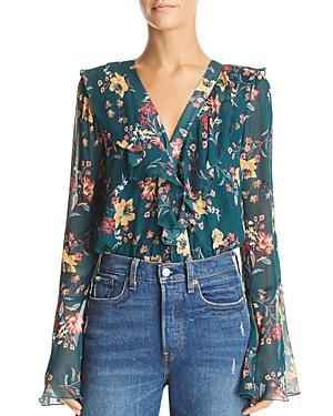 Band of Gypsies Audrey Ruffled Floral-Print Bodysuit