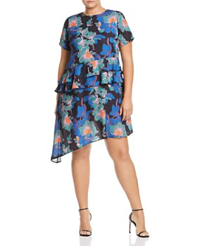 Lost Ink Plus - Ivy Floral Ruffle Swing Dress