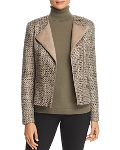 Lafayette 148 New York - Trista Suede-Trimmed Metallic Tweed Jacket