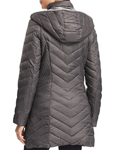 Laundry by Shelli Segal - Mixed Quilt Puffer Coat