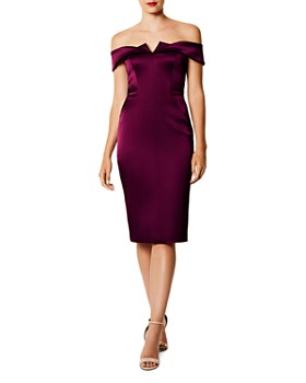 KAREN MILLEN - Off-the-Shoulder Satin Dress