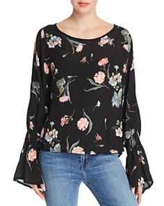 Red Haute - Cold Shoulder Floral Print Top