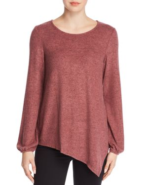 B COLLECTION BY BOBEAU B Collection By Bobeau Cozy Asymmetric Brushed Knit Top - 100% Exclusive in Canyon Rose