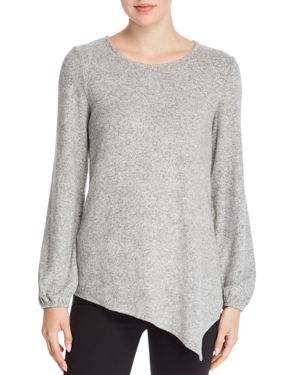 B COLLECTION BY BOBEAU B Collection By Bobeau Cozy Asymmetric Brushed Knit Top - 100% Exclusive in Peppercorn