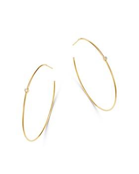 c0f528378 Zoë Chicco - 14K Yellow Gold Bezel Set Diamond Delicate Hoop Earrings ...