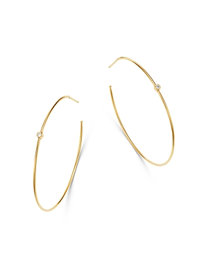 Zoe Chicco 14K Yellow Gold Bezel Set Diamond Delicate Hoop Earrings