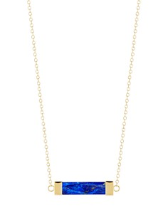 MATEO - 14K Yellow Gold Lapis Bar Cable Necklace, 16""