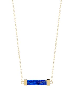"""MATEO - 14K Yellow Gold Lapis Bar Cable Necklace, 16"""""""