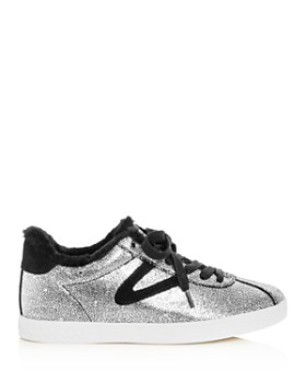 Tretorn - Women's Callie Glitter & Faux-Fur Lace Up Sneakers