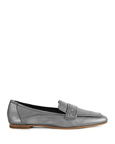 REISS - Women's Elba Metallic Leather Loafers