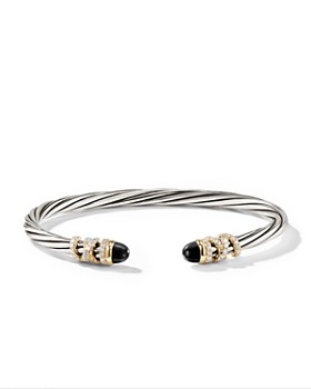 David Yurman - Helena End Station Bracelet in Sterling Silver with Black Onyx, Diamonds and 18K Yellow Gold, 4mm