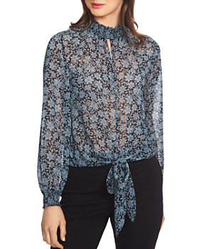 1.STATE - Wild Blooms Smocked Tie Front Top
