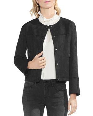 Faux Suede Snap Front Jacket, Rich Black