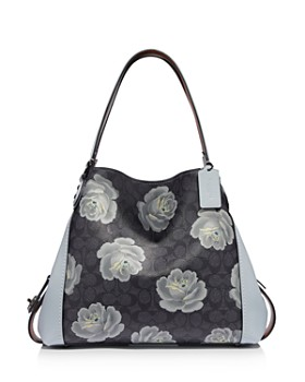 COACH - Edie 31 Signature Rose Print Leather Shoulder Bag