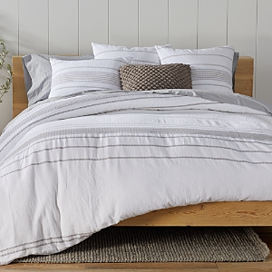 Coyuchi Organic Cotton Alpine White Rippled Stripe Duvet Cover, Full/Queen