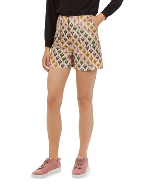 Colour By Numbers Tedda Heart Jacquard Shorts, Ivory
