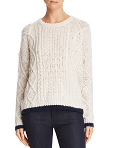 Velvet by Graham & Spencer - Tipped Cable-Knit Sweater - 100% Exclusive