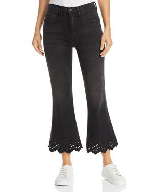 Schiffly High Waist Scalloped Hem Crop Flare Jeans in Black