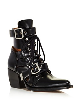 Chloé - Women's Rylee Pointed Toe Leather Ankle Booties