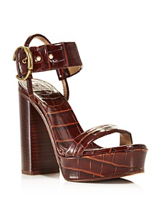 Chloé - Women's Roy Croc-Embossed Leather High-Heel Platform Sandals
