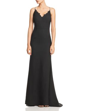 JARLO Joleen Lace-Trimmed Gown in Black