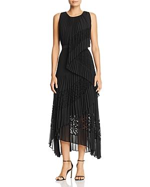 Bcbgmaxazria LACE-INSET PLEATED DRESS