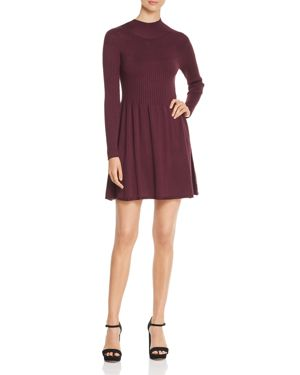VERO MODA Mock-Neck Sweater Dress in Winetasting