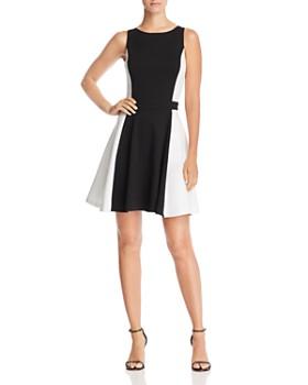 AQUA - Color-Block Fit-and-Flare Dress - 100% Exclusive