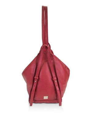 Calabasas Convertible Leather Backpack in Scarlet Red/Silver